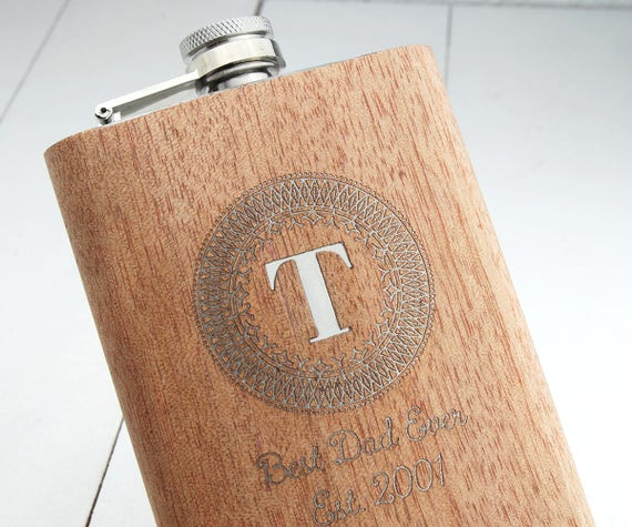 Personalised Hip Flask walnut wood veneer over a High Quality Stainless Steel Engraved with Initial & your message