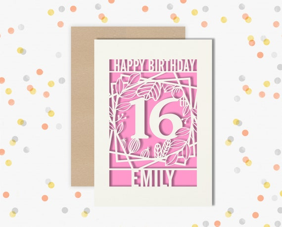Personalised 16th Papercut Birthday Card Floral design with the name of your choice. Or add any Age, 18, 21, 30, 40, 50, 60, 70, 75, 80