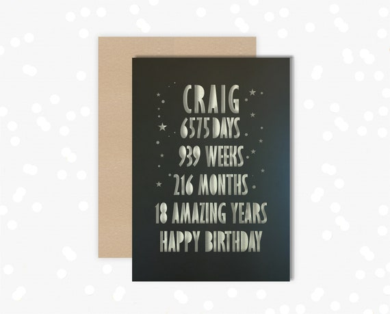 18th Papercut Birthday Personalised Card Days, weeks, months, years design with the name of your choice. 18 card for him