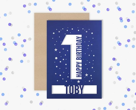 Personalised 1st Birthday Card Papercut contemporary star design First Birthday, 1 Birthday, card for him