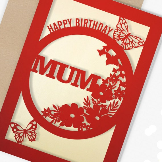 Birthday Card for Mum Papercut Butterfly design Card for her