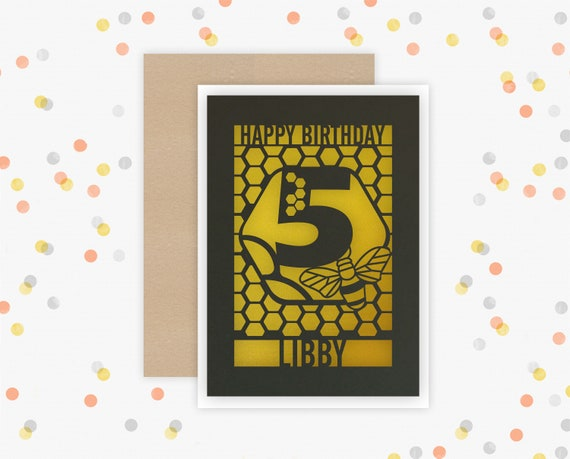 Any age, Birthday Card, Personalised Papercut, Bee design, Birthday Card with the name of your choice