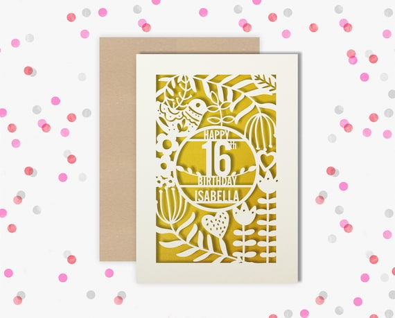 Personalised 16th Papercut Birthday Card Bird design with the name of your choice. Or add any Age, 18, 21, 30, 40, 50, 60, 70, 75, 80