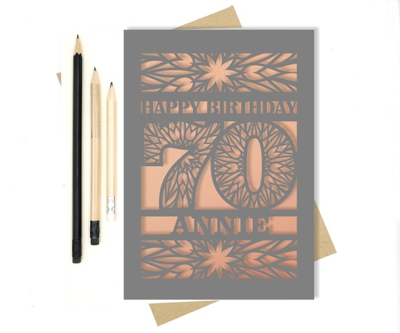 Personalised 70th Papercut Birthday Card with the name of your choice. Or add any Age, 18, 21, 30, 40, 50, 60, 70, 75, 80
