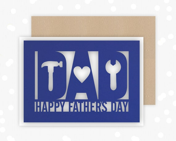 Fathers Day Card, DIY design , Papercut Card, Card for him, Hammer, Spanner, Heart,from the kids