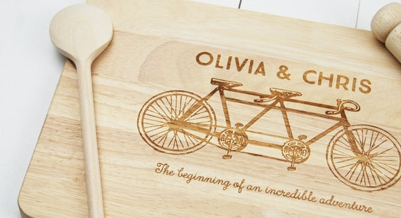 Personalised cutting board a couples Gift. Custom Chopping board with an illustration of a Tandem Bike. Weddings, Engagment & Anniversary