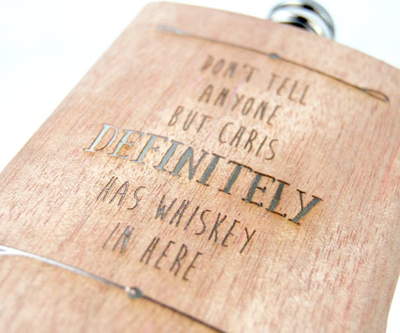 Personalised Hip Flask ~Beautiful walnut wood veneer over a High Quality Stainless Steel Case Engraved with the name & drink of your choice