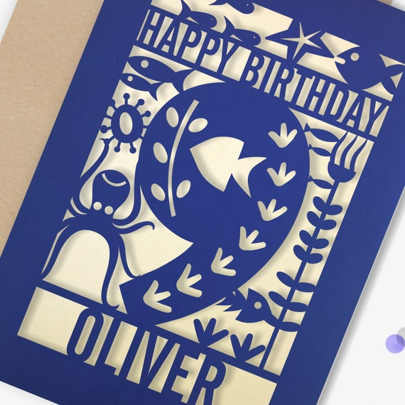 Personalised 9th Papercut Birthday Card Fish design with the name your choice. Grandson, nephew, son, Brother 9