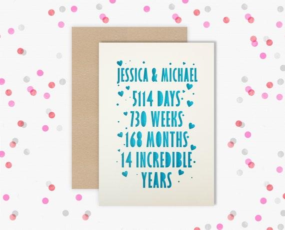 Personalised 14 Year Wedding Anniversary Card.  14th Wedding anniversary paper cut card Ivory Anniversary