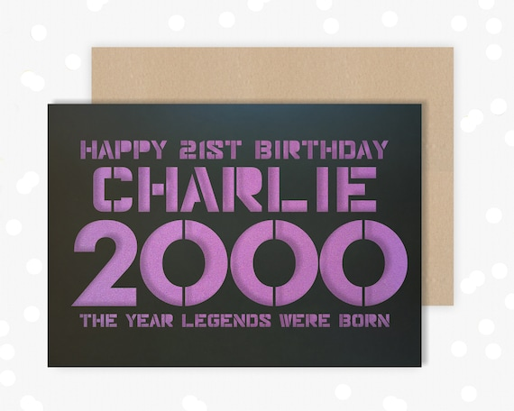 21 Personalised Papercut Birthday Card for him with the name of your choice. Or add any Age, 18, 21st, 30, 40, 50, 60, 70, 75, 80