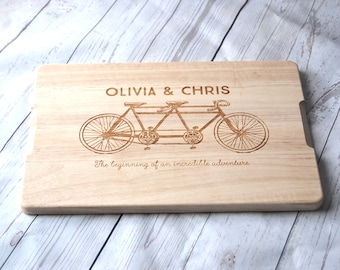 Personalised Couples Gift - Custom Chopping board - Tandem Bike - Weddings - Engagment - Anniversary