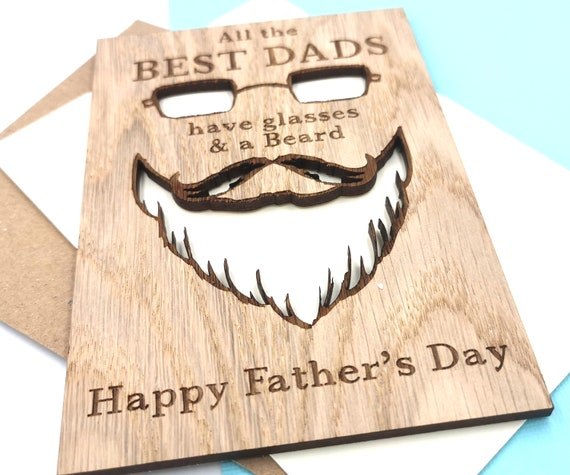 Personalised Father's Day Card cutout Glasses, Mustache, Beard Best Dads wooden card For Daddy, Dad, Pops, Papa!