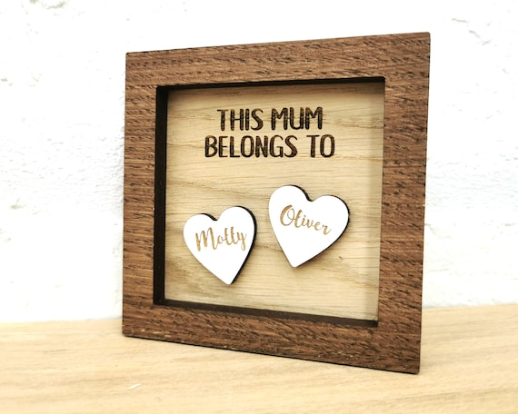 Personalised Family Art, wall art, Childrens names, Mothers Day Gift, Fathers Day Gift, Gift for Mum, hearts, This Mum belongs to