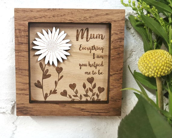 Inspirational Mother's Day Quote, wall art, Mothers Day Gift, Fathers Day Gift, Gift for Mum, Flower, mini frame, Grandparent, Mum