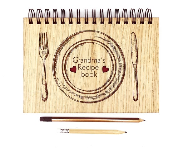 Personalised Family Recipe Book, a beautiful keepsake of Family Recipes A5 Notebook Oak Cover. Custom cover with blank pages Gift for her