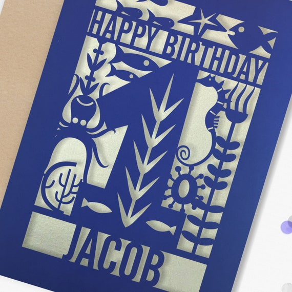 Personalised 1st Papercut Birthday Card Fish design with the name your choice. Grandson, nephew, son 1