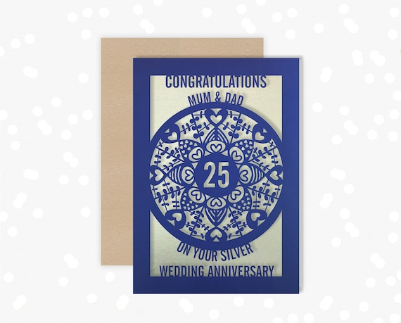 Personalised 25 Year Silver Anniversary Card Paper Cut Greeting Card, 25th Wedding Anniversary Laser Cut