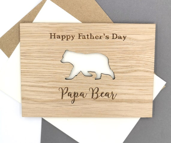 Personalised Papa Bear Father's Day Card wooden card For Daddy, Dad, Pops, Papa!