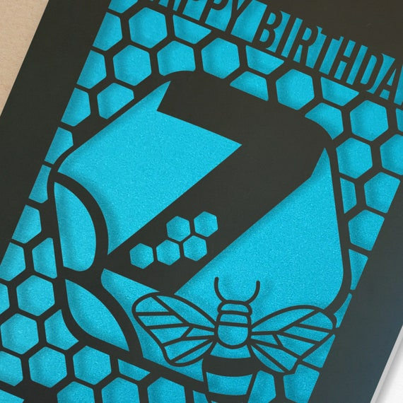 Personalised 7th Birthday Paper cut card, bumble bee & honeycomb design, 7 Birthday card