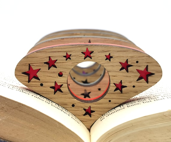 Personalised Stars Thumb book page holder great for book lovers Made from Oak and funky acrylic Reading ring