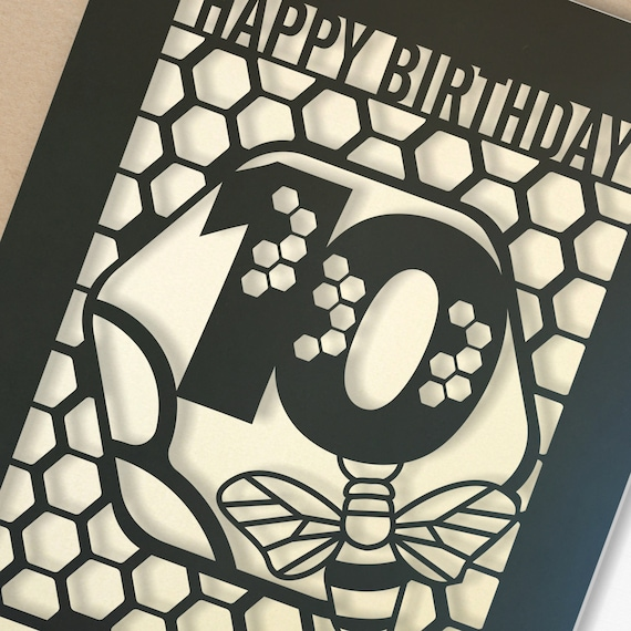 Personalised 10th Birthday Paper cut card, bumble bee & honeycomb design, 10 Birthday card