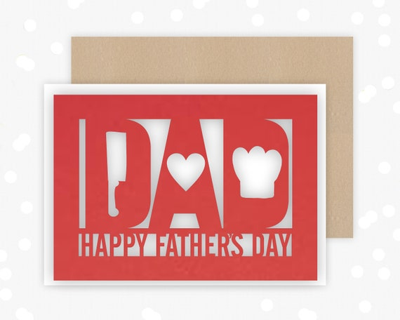 Papercut Fathers Day Card, BBQ Chef design , Papercut Card, Card for him, hat, cleaver, Heart,from the kids