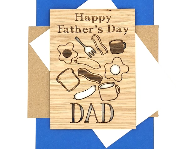 Father's Day Card Personalised Breakfast themed wooden card For Daddy, Dad, Pops, Papa!