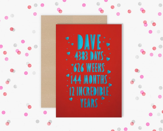 Personalised 12 Year Wedding Anniversary Card.  12th Wedding anniversary paper cut card Silk Anniversary