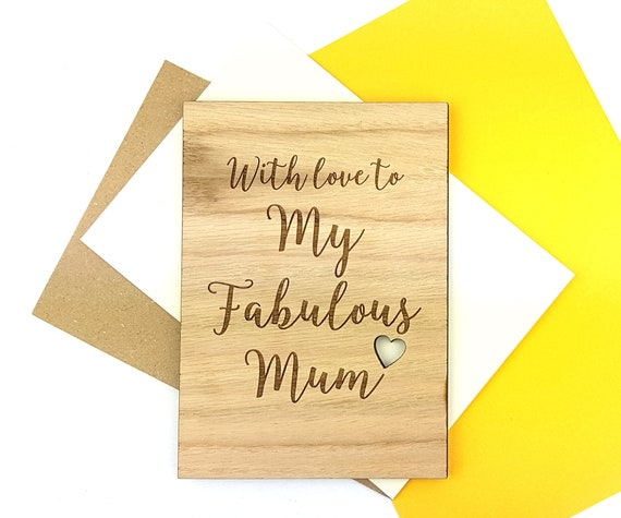 Fabulous Mum Mother's Day card - Wooden Oak card engraved with a little cut out heart.