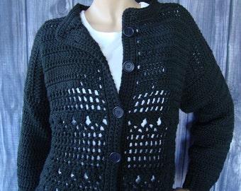 Crochet Cardigan, Black Cardigans, Black Cardigan, Cotton Cardigan, Crocheted Cardigans, Crochet Cardigans, Cardigans, Available in M/L
