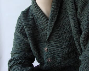 Men's Sweater, Men's Crocheted Sweater, Men's Wool Sweater, Shawl Collar Sweater, Hunter Green Sweater, Husband Gift, Available in  XXL