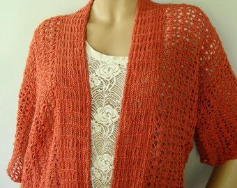 Kimono Cardigan, Orange Cardigan, Crochet Cardigan, Cardigans, Crochet Cardigans, Crochet Sweaters, Cotton/Hemp, Available in S/M and L/XL