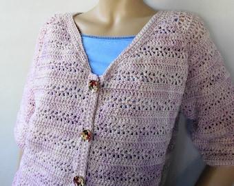 Crochet Cardigan, Pink Cardigan, Merino Wool Cardigan, Crocheted Cardigan, Cardigan Women, Cardigan Sweaters, Rose Garden, Available in M/L