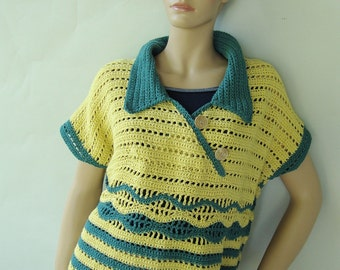 Häkeln Polo Shirt Häkeln Von Pullovern Schichtung Stück Etsy