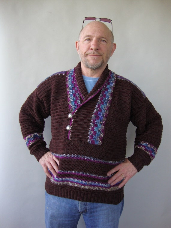 Herren Pullover Herren Pullover Aus Wolle Braun Pullover Etsy