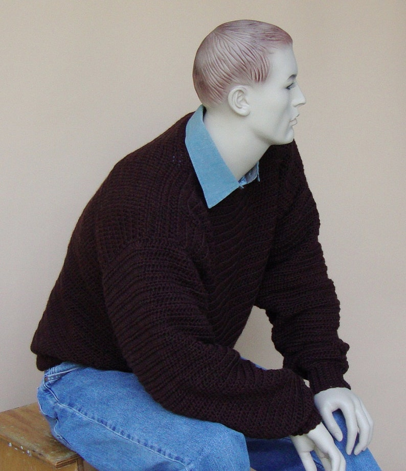 Gift for Him Sweaters for Men Brown Sweater Jumper Pullover Men/'s Wool Sweater Size LXL Sweater Men Wool Sweater Crewneck Sweater