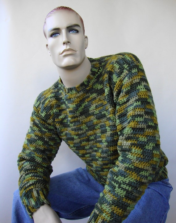 Sweater Men, Sweaters for Men, Men\u0027s Wool Sweater, Green Sweater, Crochet  Sweater, Camouflage Sweater, Unisex Sweater, Available in M and XL