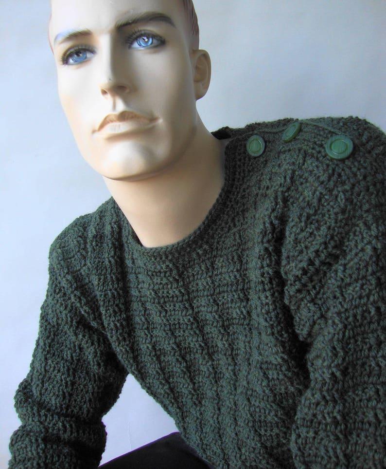 Jumper Pullover Men/'s Crochet Sweater Hunter Green Sweater Men/'s Wool Sweater Men/'s Sweater Button Shoulder Sweater Available in SM