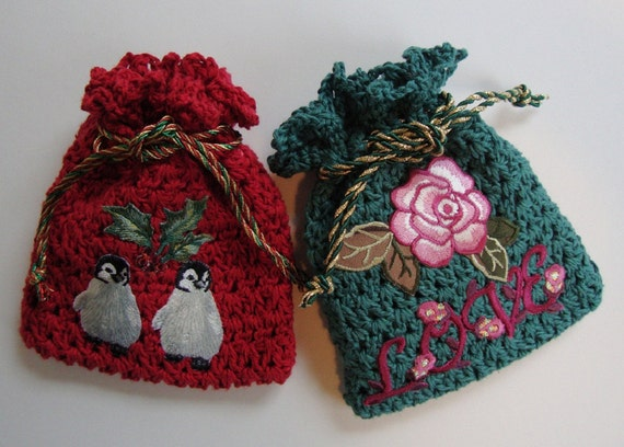 Crocheted Gift Bag Jewelry Pouch Gift Bags Valentine S Etsy