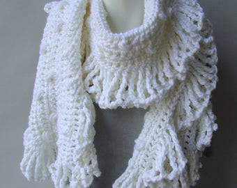 Merino Wool Scarf, Crochet Scarf, Crochet Scarf Merino Wool, Octopus Scarf, Fringe Scarf, Scarves, Sister Gift, Available in Blue or White