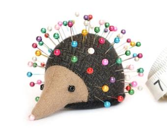 Pincushion, Hedgehog, upcycled wool, handmade, Foxtail Hazelwort