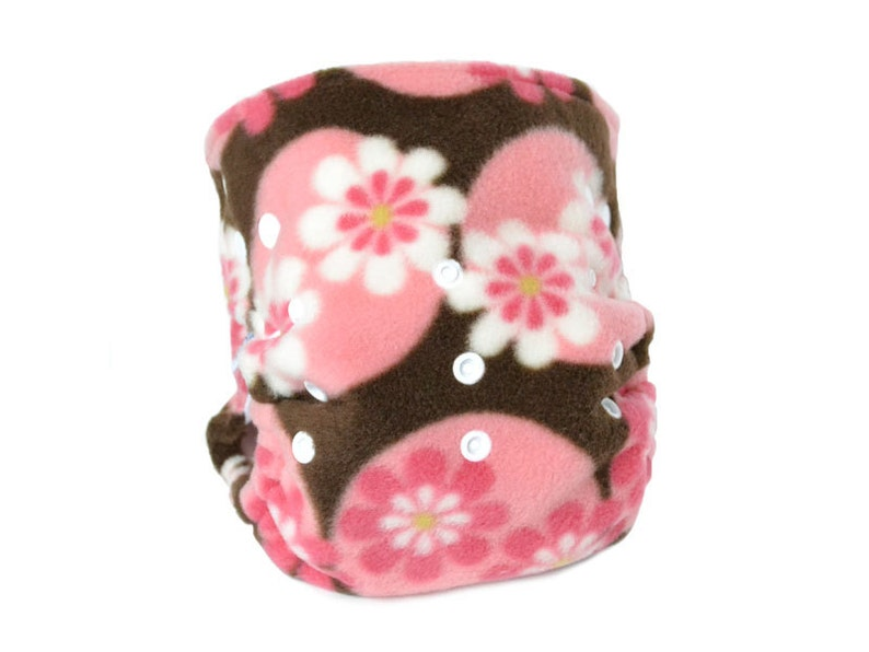 brown pink dots Fleece Cloth Diaper Cover OS Flowers