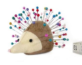 Pincushion, Hedgehog, upcycled wool, handmade, Calendula Chicory