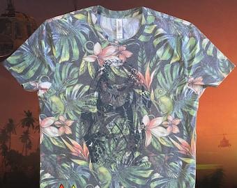 Predator Hawaiian Shirt, Fathers day Shirt, gift for him, gifts for guys, boyfriend gift, cool gifts for men, unisex tshirt, Schwarzenegger