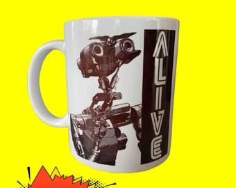 Johnny 5 Mug, Short Circuit Mug, Ceramic Handled Mug, Robot Mug, Johnny 5 Mug, Coffee Mug, Tea Mug, Number 5, Johnny Five Alive, coffee cup