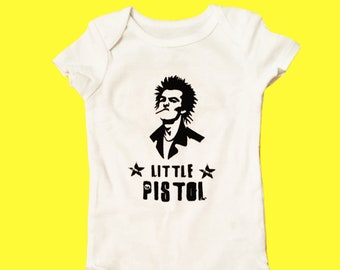 Little Pistol Punk Baby Bodysuit / Cool Baby Clothes / Unisex Baby Clothes / Funny Baby Clothes / Unique Baby Shower Gifts / Nostalgia