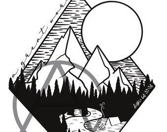 A Great Work camp t-shirt digital download design - Mountains