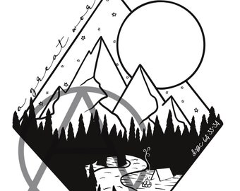 Lds Camp t-shirt Digital Download Design - Mountains & Stars
