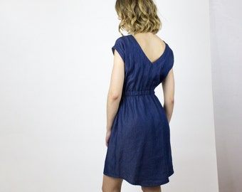 Milan Blue cotton dress, Lightweight denim dress, Eco friendly spring dress, sustainable fashion