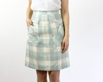 Betty Green vintage plaid Aline skirt, Small batch production, Ethically made in canada